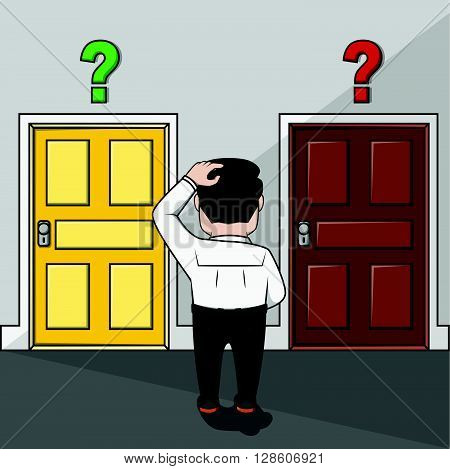 Business man confused choosing door. eps10 editable vecor illustration design