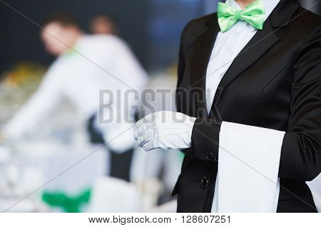 Catering service. waitress on duty in restaurant