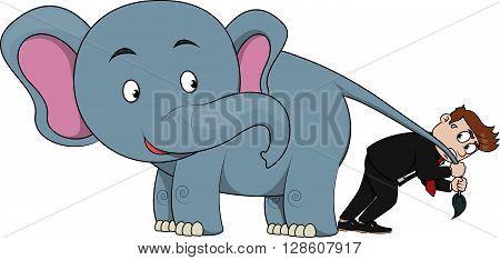 Business man bring elephant .eps10 editable vector illustration design