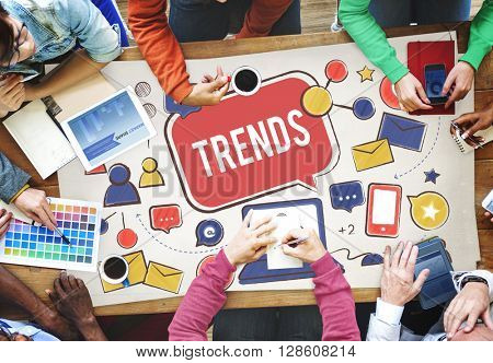 Trends Social Media Update Online Internet Concept