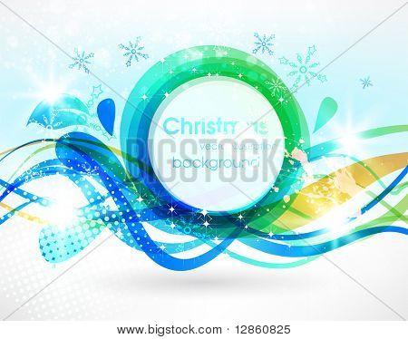 Abstract Winter Banner für Weihnachten Hintergrund mit Schneeflocken und floral Blatt. EPS 10