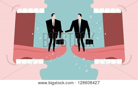 Negotiations and dialogue. Transaction business. Compromise between two business parties. Agreement on background of abuse. Two men shaking hands. Open mouth cry. communication people