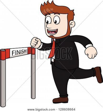 employee crossing finish line .eps10 editable vector illustration design