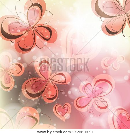 Cute floral seamless background with abstract hand drawn flowers and hearts for design. eps 10