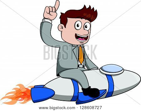 Businessman start up rocket .eps10 editable vector illustration design