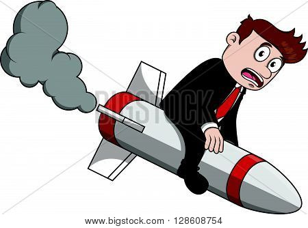 Business man crash rocket .eps10 editable vector illustration design