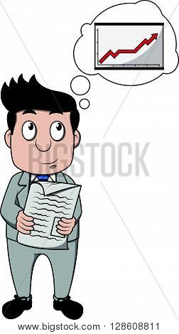Business man think about progress .eps10 editable vector illustration design