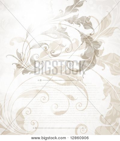 Invitation vintage card with floral ornament with leafs and flower for retro design.