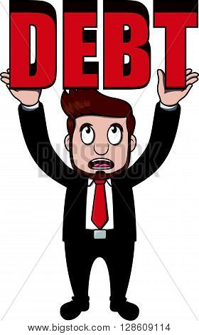 Business man debt .eps10 editable vector illustration design