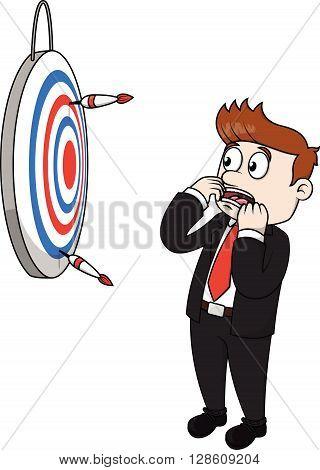 Business man lost target .eps10 editable vector illustration design