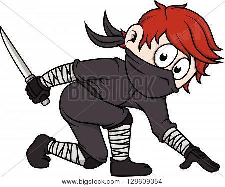 Ninja boy  vector cartoon illustration .eps10 editable vector illustration design
