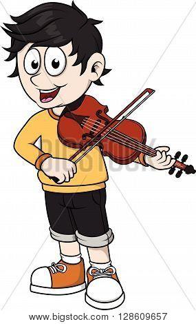 Boy playing violin  .eps10 editable vector illustration design