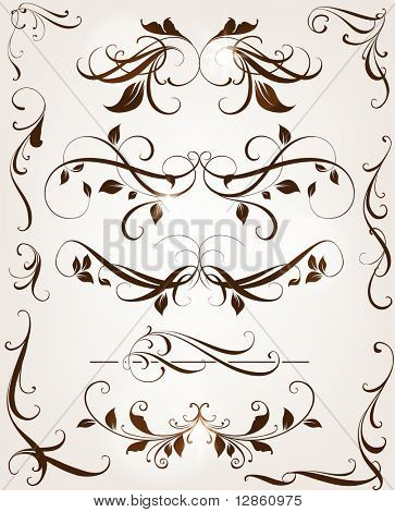 Set of swirl floral ornaments for retro design. with leafs and flowers.