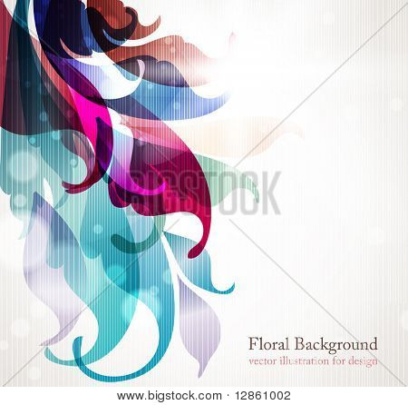 Abstract background for design with colorful leafs and flowers. eps 10