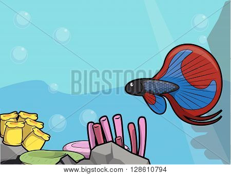 sea bettafish illustration under water scenery .eps10 editable vector illustration design