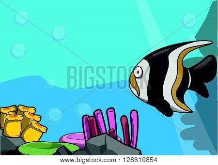 sea gillfish illustration under water scenery .eps10 editable vector illustration design