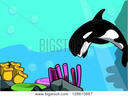 Sea orca illustration under water scenery .eps10 editable vector illustration design