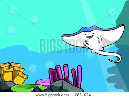Stingray illustration  under water scenery .eps10 editable vector illustration design