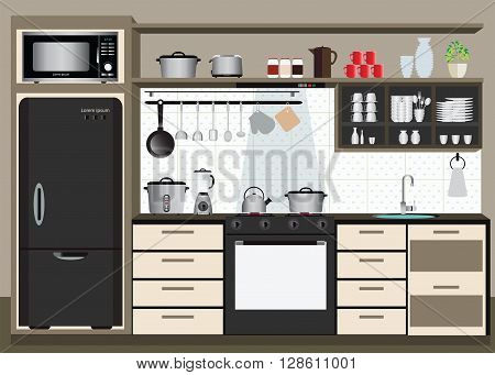 Interior kitchen with kitchen shelves and cooking utensils electronics equipment on counter in tiles patterned background vector illustration.