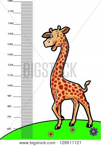 giraffe animals as ruller  .eps10 editable vector illustration design