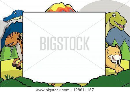prehistoric animals together with big banner .eps10 editable vector illustration design