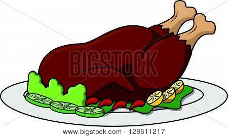 Roasted chicken cartoon illustration .eps10 editable vector illustration design