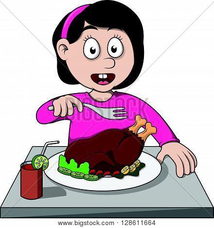 girl eat roasted chicken cartoon illustration .eps10 editable vector illustration design