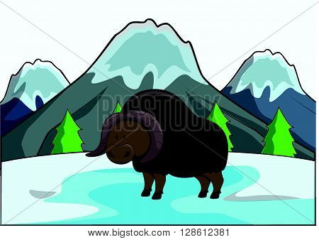Musbox at ice age scenery .eps10 editable vector illustration design