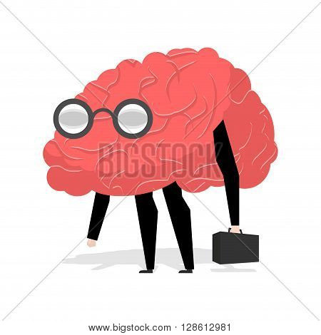 Brain Glasses. Smart Professional. Very Cute Manager. Egghead With Ase. Business Scientific Figure.