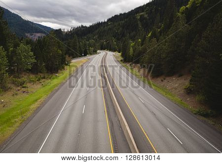 Overhead view of a pacific northwest interstate highway