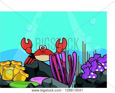 crab underwater scenery illustration .eps10 editable vector illustration design