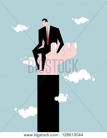 Businessman  Standing On Hand. Rise Of Man. Help From Boss. Protege Director. Help In Work. Manager