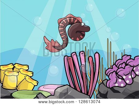 eel underwater scenery illustration .eps10 editable vector illustration design