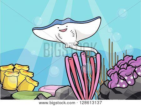 Fight fish underwater scenery .eps10 editable vector illustration design