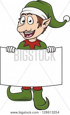 Christmass efl cute cartoon holding banner .eps10 editable vector illustration design