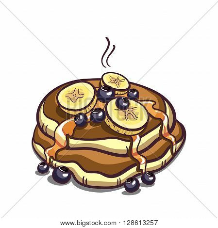 Hand drawn pancakes with syrup, bananas and blueberries. Pancakes in cartoon style isolated on white background. Vector illustration.