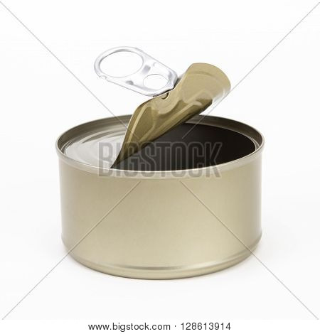 the open tin golden aluminum canned on white background