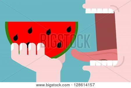Man Eating Watermelon. Fruit Consumption. Red Fresh Slice Of Watermelon. Healthy Breakfast. Open Mou