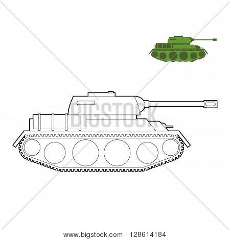 Military Tank Coloring Book. Fighting Technique In  Linear Style, Armored Combat Vehicle, Tracked Wi