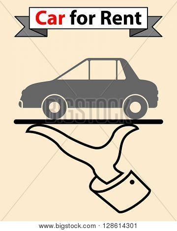 Car For Rent raster Illustration