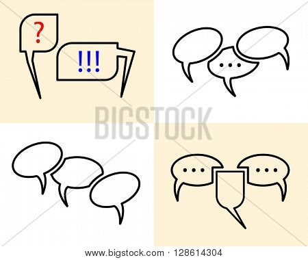 Chat Icon Set raster Illustration