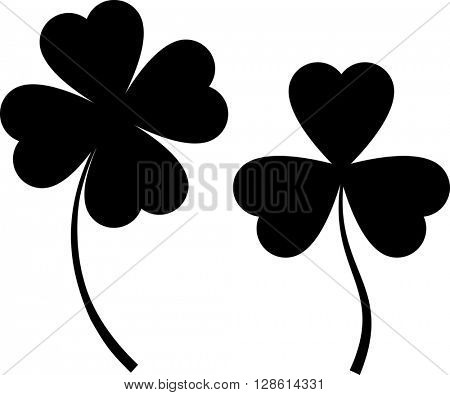 Clover with Four and Three Leaves raster Illustration