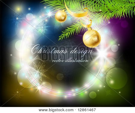 Abstract Circle Christmas Background with fur tree, snowflakes, balls and ribbon for xmas design. eps 10