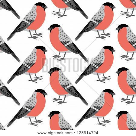 Seamless pattern of vector bullfinch. Bullfinch background. Vector art background design for fabric, papper, skrapboking and decor.