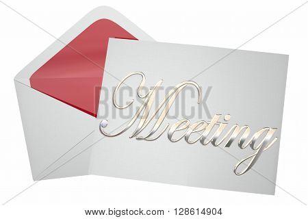 Meeting Invitation Letter Envelope Discussion Word 3d Illustration