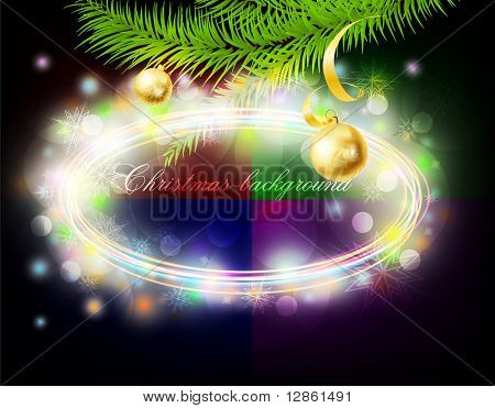 Abstract Circle Christmas Background with fur-tree, balls, ribbon and snowflakes for xmas design. eps 10