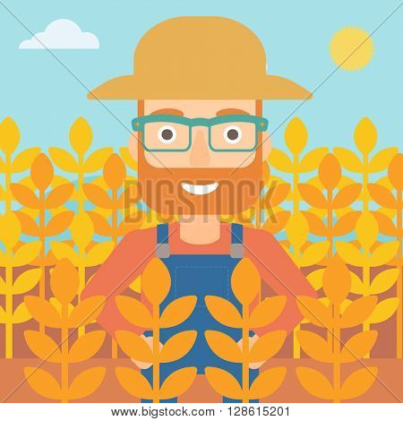 Man in wheat field.