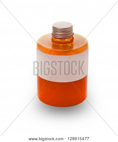 Red bottle of liquid soap and closed the lid on a white background