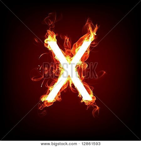 Fiery font for hot flame design. Letter X