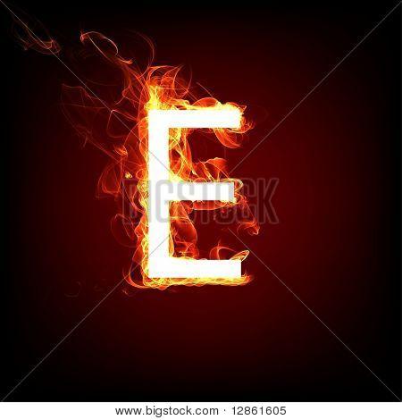 Fuente ardiente para el diseño de la llama caliente. Letra E